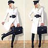 Пальто женское белое с поясом P426