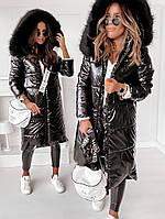 Длинная куртка зимняя, теплое пальто с капюшоном, черная лакова куртка, удлиненный пуховик женский