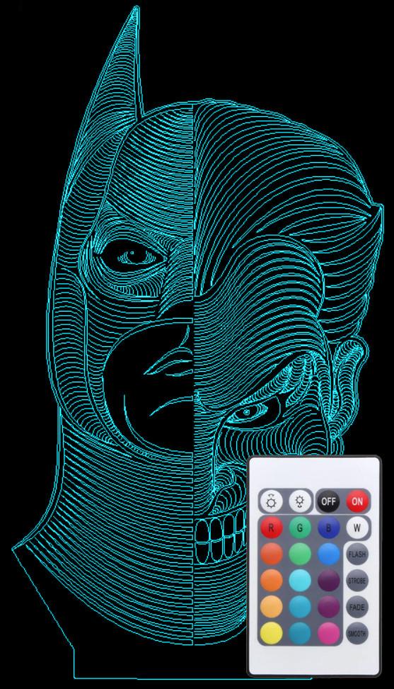 Акриловий світильник-нічник з пультом 16 кольорів Бетмен Джокер AVA-743