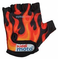 Перчатки детские Kiddi Moto чёрные с языками пламени, размер S на возраст 2-4 года