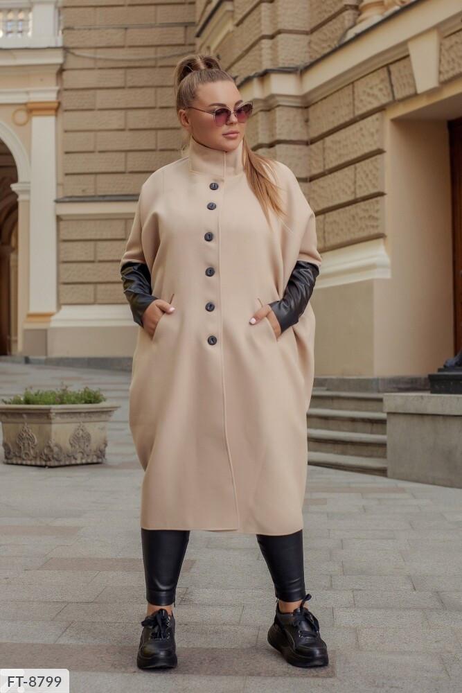 Модное кашемировое пальто за колено свободное на пуговицах с кожаными рукавами большого размера 48-64 арт.8191