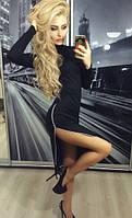"""Платье женское """"Змейка"""" трикотаж черное"""