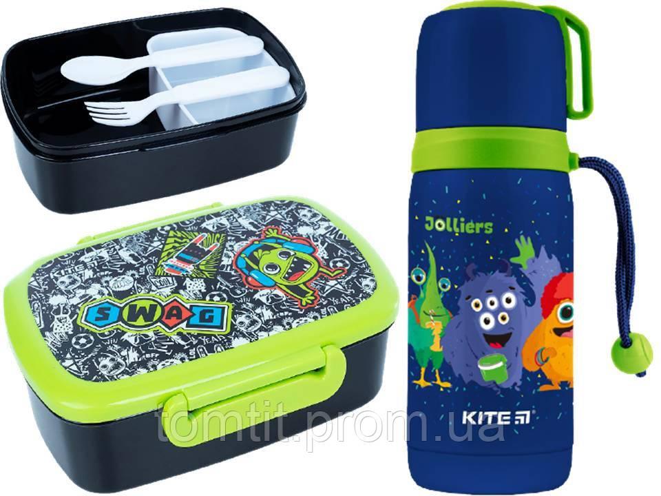 """Набор """"Jolliers Монстрики"""" ТМ Kite. Детский термос для питья и Ланчбокс (контейнер) с приборами, для мальчика"""
