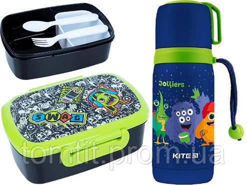 """Набор """"Jolliers Монстрики"""" ТМ Kite. Детский термос для питья и Ланчбокс (контейнер) с приборами, для мальчика, фото 2"""