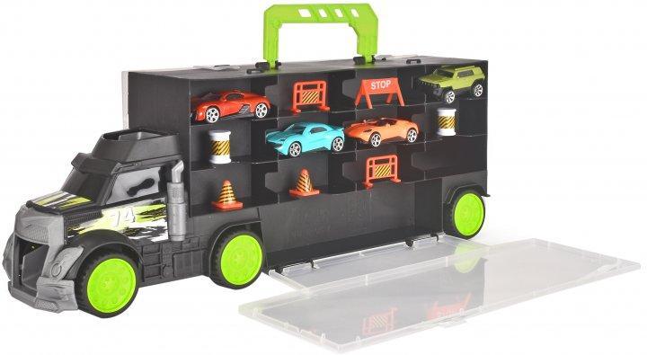 Трейлер перевізник авто  (кейс з 4 машинками і 7 дорожними елементами) 43см - Dickie Toys 3+ (3747007)