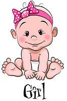 Наклейка на воздушный шарик Малышка Girl, наклейки на выписку из роддома, 30х21см