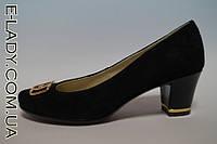 Черные туфли на маленьком каблуке из натуральной замши, фото 1