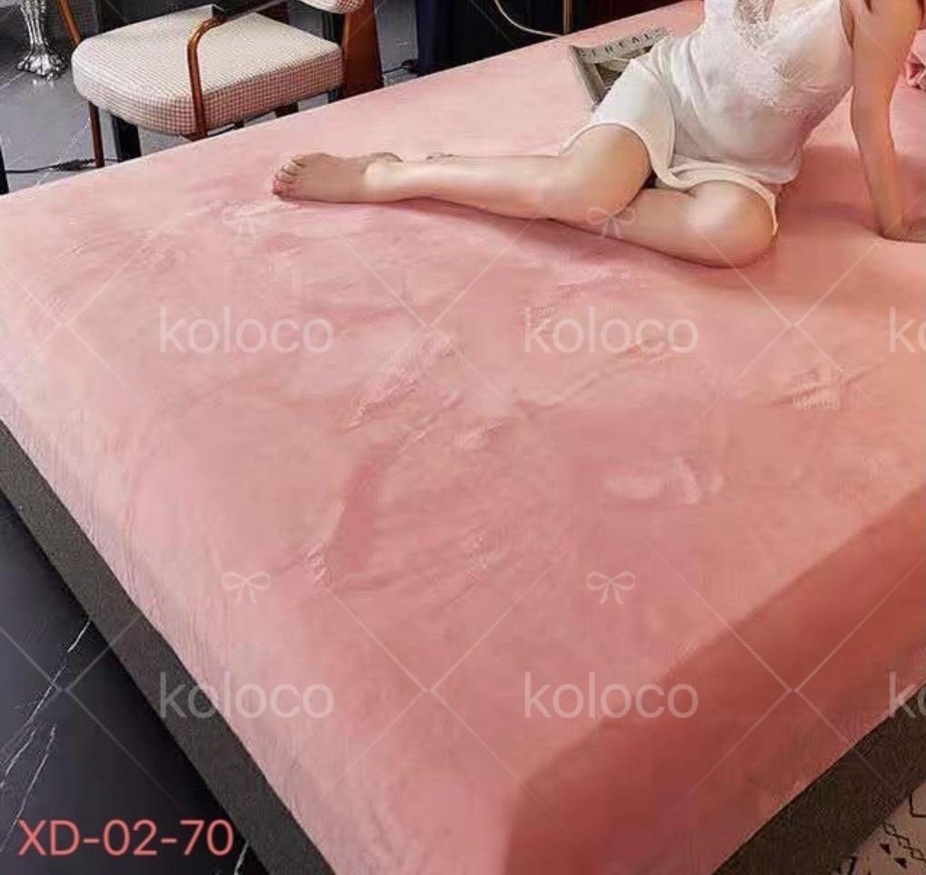 Велюрова простирадло на гумці на двоспальне ліжко 180*200*25 Koloco