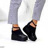 Стильные туфли женские на танкетке /платформе 9 см черные натуральная кожа + резинка, фото 2