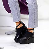Стильные туфли женские на танкетке /платформе 9 см черные натуральная кожа + резинка, фото 4