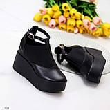 Стильные туфли женские на танкетке /платформе 9 см черные натуральная кожа + резинка, фото 5
