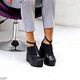 Стильные туфли женские на танкетке /платформе 9 см черные натуральная кожа + резинка, фото 6
