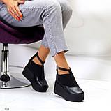 Стильные туфли женские на танкетке /платформе 9 см черные натуральная кожа + резинка, фото 8