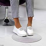Женские мокасины /кроссовки без шнуровки белые натуральная кожа, фото 4