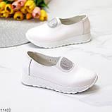 Жіночі мокасини /кросівки без шнурівки білі натуральна шкіра, фото 3