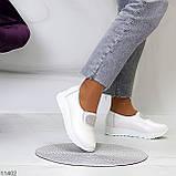 Женские мокасины /кроссовки без шнуровки белые натуральная кожа, фото 5