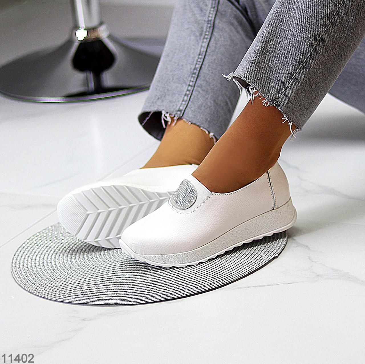 Женские мокасины /кроссовки без шнуровки белые натуральная кожа
