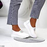 Женские мокасины /кроссовки без шнуровки белые натуральная кожа, фото 7