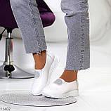 Женские мокасины /кроссовки без шнуровки белые натуральная кожа, фото 8