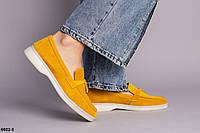Туфлі лофери замшеві гірчичні на низькому ходу, фото 1