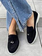 Туфли лоферы замшевые черные на низком ходу, фото 1