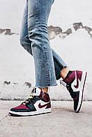 Кроссовки мужские женские Nike Air Jordan 1 Mid SE Black Dark Beetroot / Найк Аир Джордан бордовые с черным