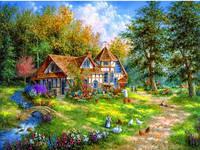 """Алмазная вышивка """"Дом в лесу"""""""