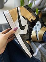 Кроссовки женские подростковые Nike Air Jordan Retro High Gold Toe Найк Аир Джордан золотые лак