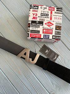 Черный мужской кожаный ремень Армани Джинс реплика