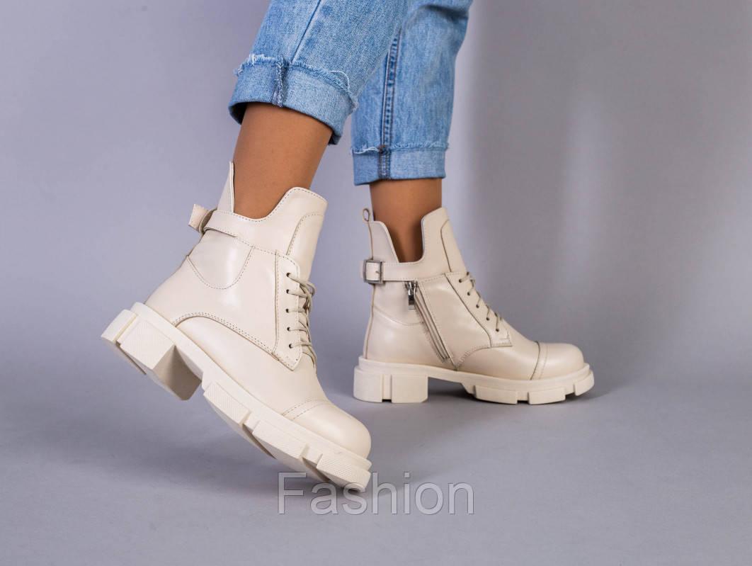 Ботинки женские кожаные молочного цвета демисезонные