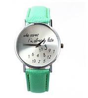 """Оригинальные женские часы """"Who Cares""""  Салатовые"""
