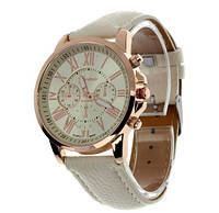 Стильные наручные женские часы Женева GENEVA  Бежевые