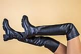 Ботфорты женские кожаные черные на низком ходу деми, фото 6