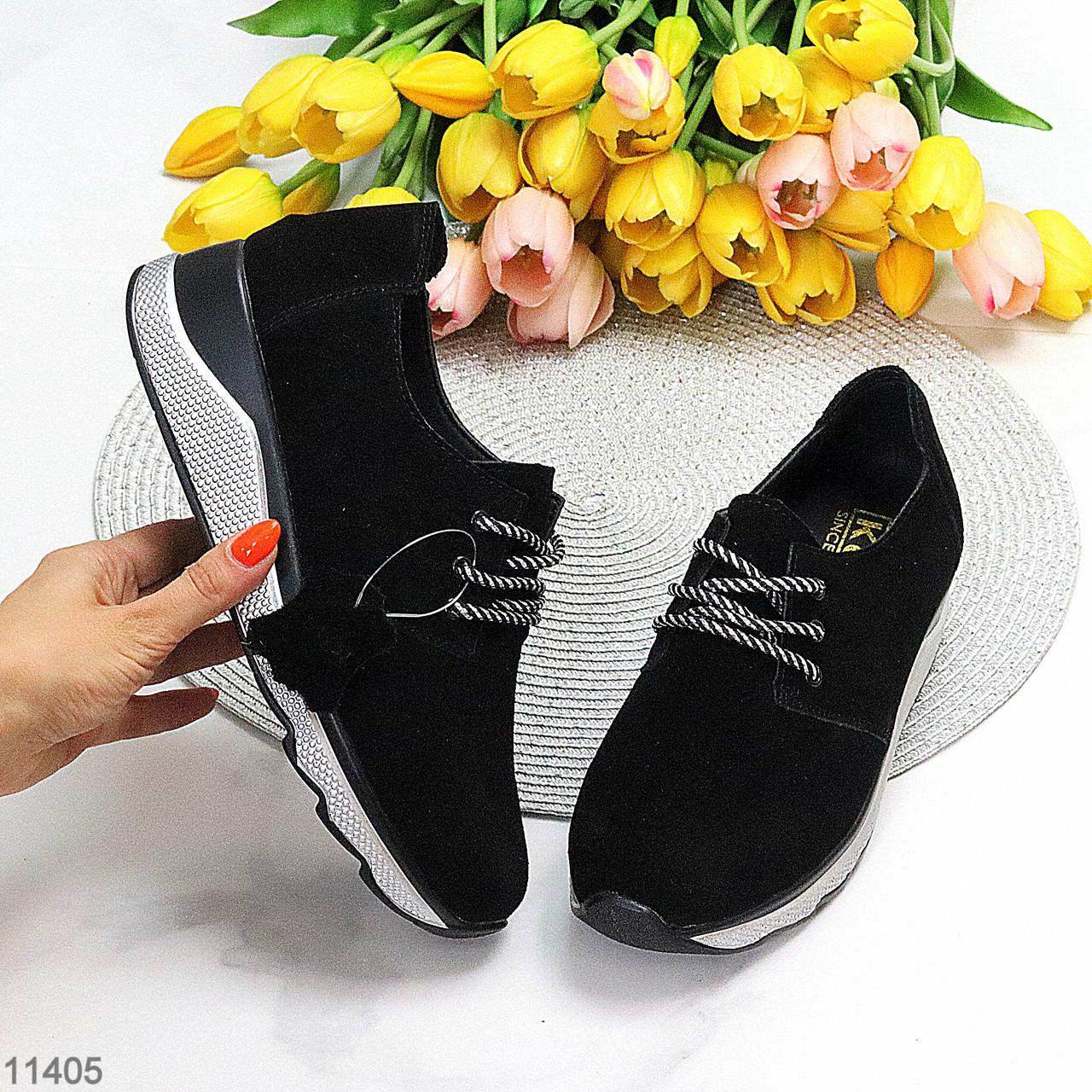 Стильні жіночі кросівки в чорному кольорі натуральна замша