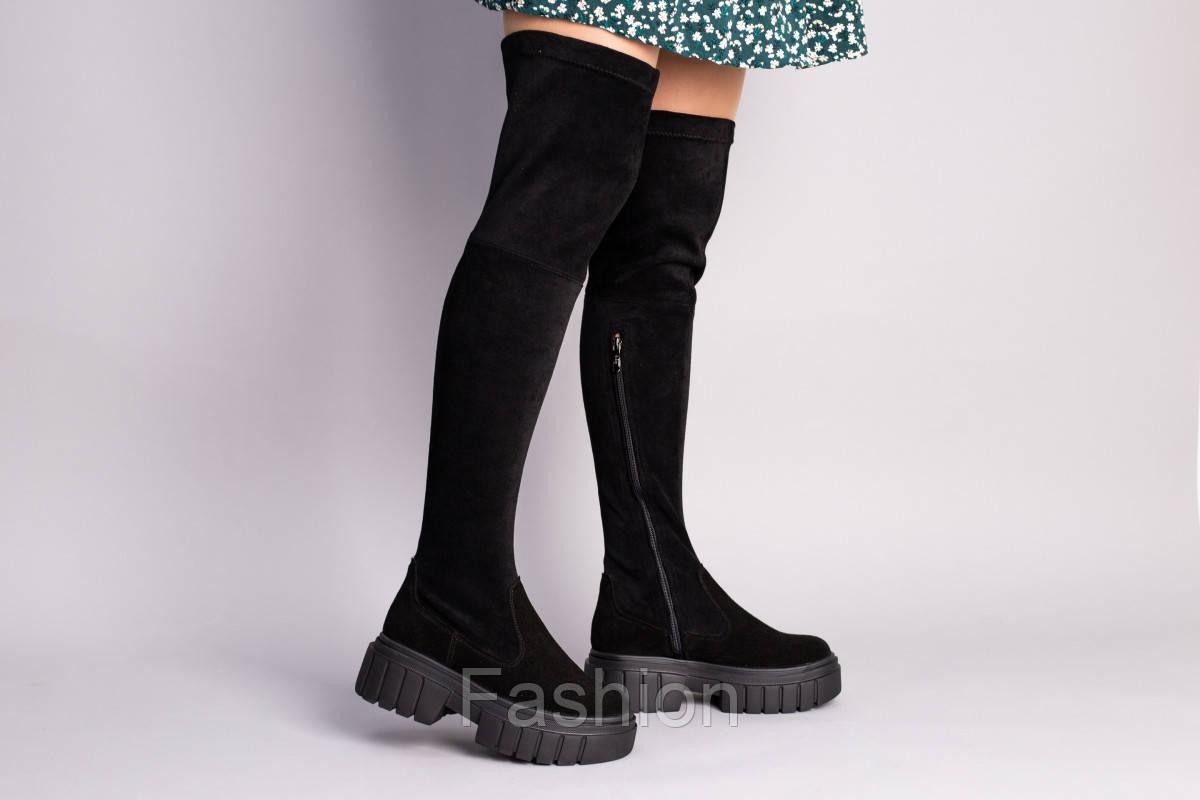Сапоги-чулки женские замшевые черные