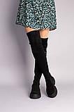 Сапоги-чулки женские замшевые черные, фото 2