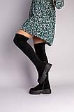 Сапоги-чулки женские замшевые черные, фото 3