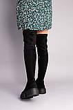 Сапоги-чулки женские замшевые черные, фото 4