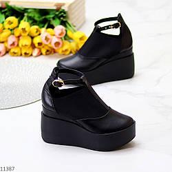 Стильные женские черные туфли на платформе натуральная кожа