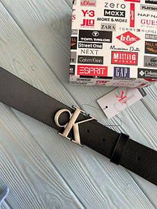 Черный мужской кожаный ремень Кельвин Кляйн реплика