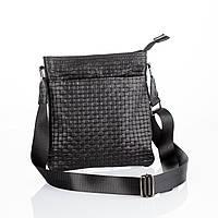 Мужская сумка через плечо черная / Трендовая сумка-плетёнка/ Мессенджер из натуральной кожи