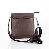 Мужская сумка через плечо коричневая без бренда / Сумка из натуральной кожи / Квадратный мессенджер