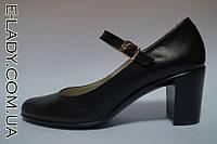 Черные туфли на устойчивом каблучке из натуральной кожи, фото 1
