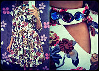 Платье цветочное с украшением на шее  (39)