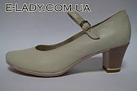 Бежевые туфли на устойчивом каблучке из натуральной кожи