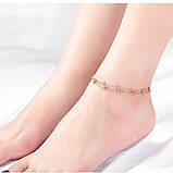 """Браслет трьохшаровий на ногу-анклет """"Розсипані намистини"""", золотистий, фото 5"""