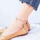 "Браслет двошаровий на ногу-анклет ""Серце леді"", золотистий, фото 2"