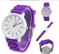 Женские кварцевые часы GENEVA Женева часы с силиконовым ремешком фиолетовые