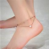 "Браслет двошаровий на ногу-анклет ""My heart"", золотистий, фото 5"