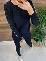 Вязаный кашемировый костюм с жемчугом
